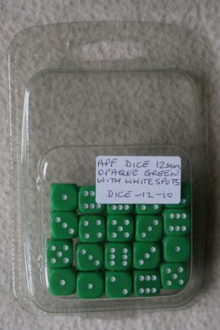 APF Dice-12-10 12mm D6 Opaque Green with White Spots